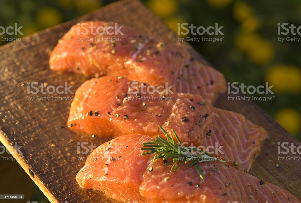 Salmon Fish Seafood Fillet, Summer Cooking & Alder Plank Barbeque Food royalty-free stock photo