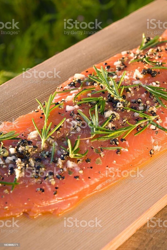Salmon Fish Seafood Raw Fillet, Healthy Food Cooking & Barbeque Plank stock photo