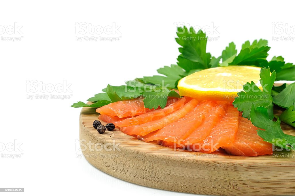 Salmon Fish with parsley and lemon. royalty-free stock photo