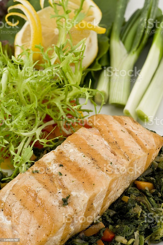 Salmon fish with salad royalty-free stock photo