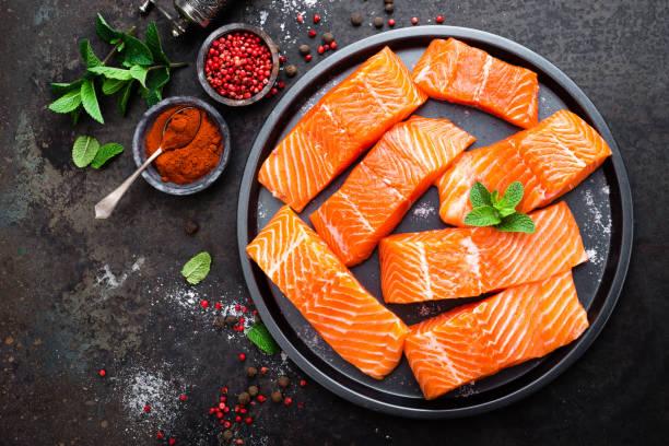 Lachs. Frischer Lachs Fisch. Roher Lachs Fischfilet. Meeresfrüchte – Foto
