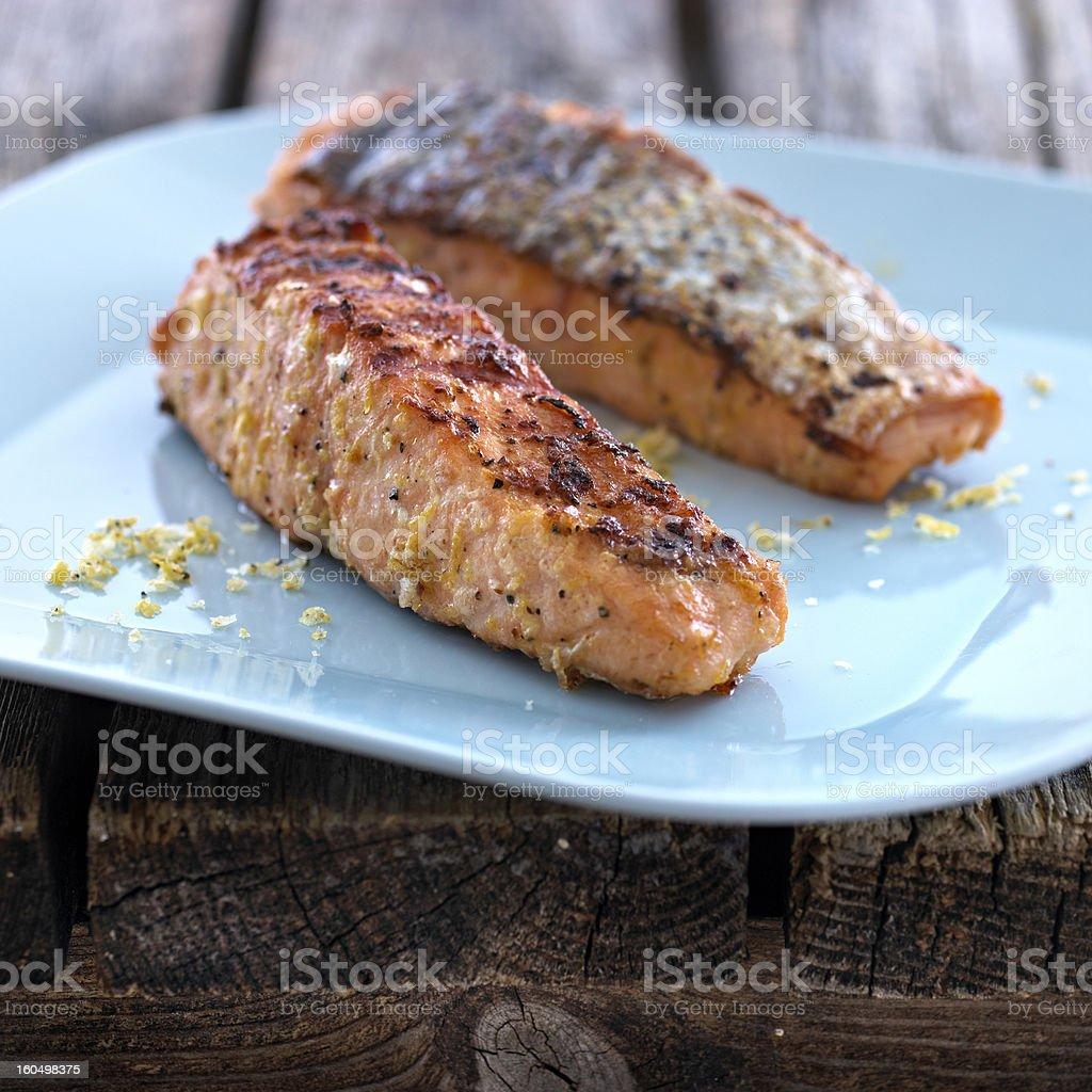 Salmon Fried stock photo