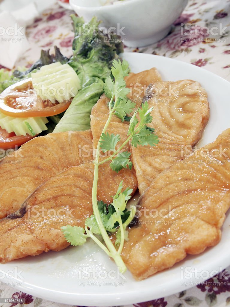 Salmon fry tamarind sauce. stock photo