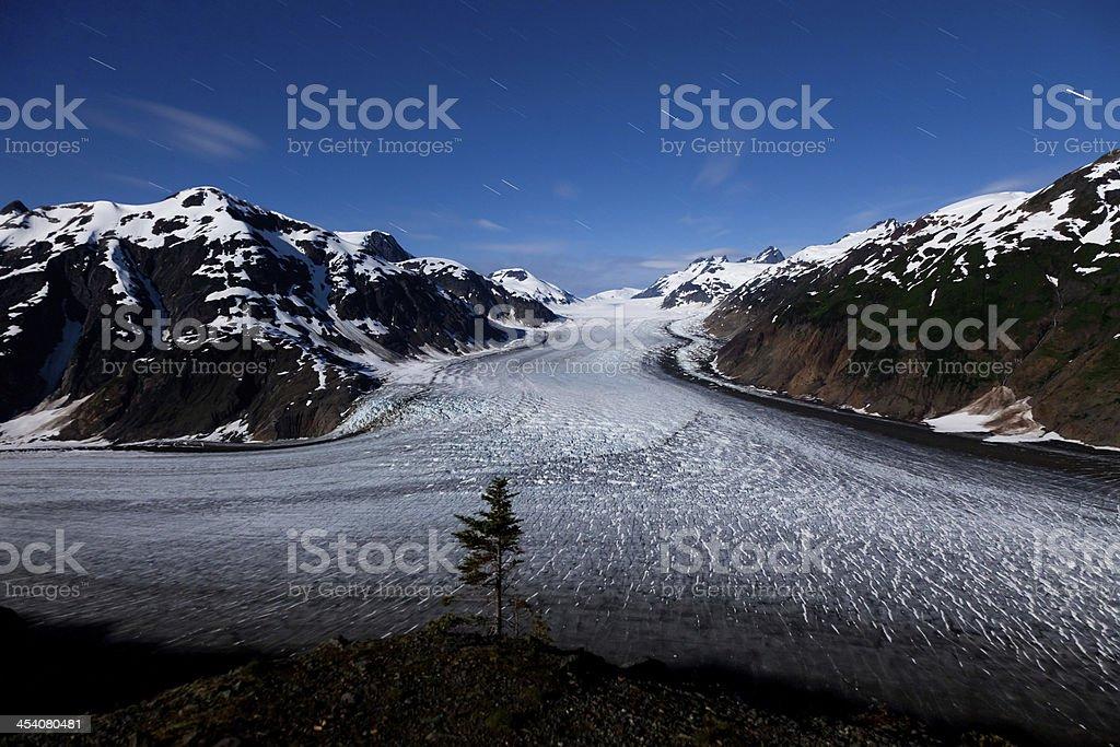 Salmon Glacier and  star trail stock photo