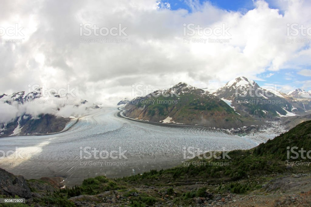 Salmon Glacier near Hyder, Alaska and Stewart, Canada, the glacier is located right on the canadian side of the booarder in British Columbia stock photo