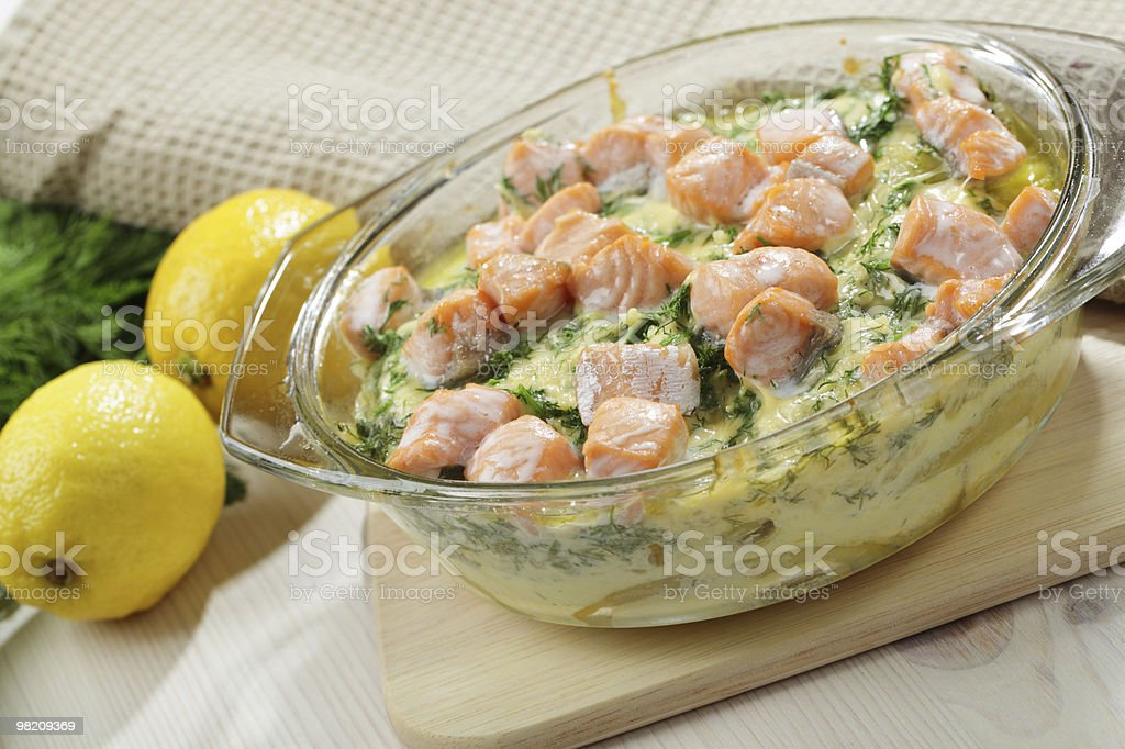 Salmon gratin royalty-free stock photo