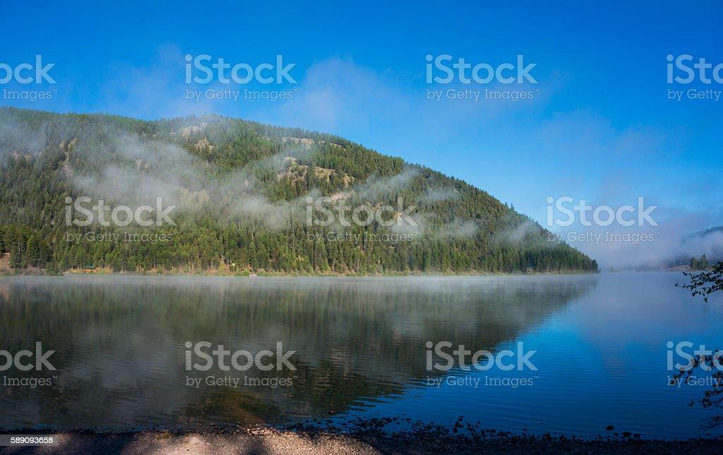 Salmon Lake Morning Clouds stock photo
