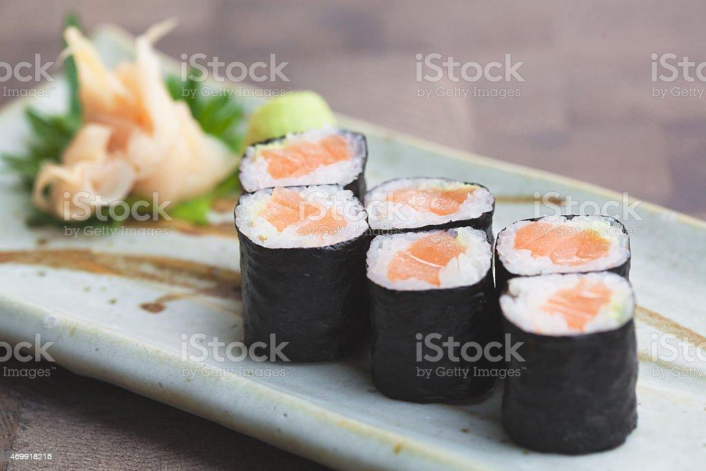 Salmon Maki stock photo