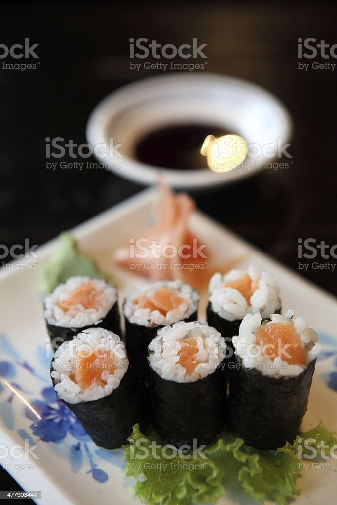 Salmon Maki sushi royalty-free stock photo