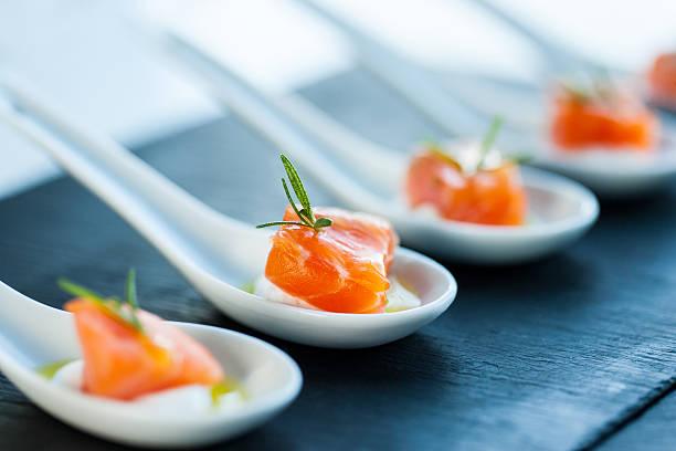 Salmon morsel. stock photo