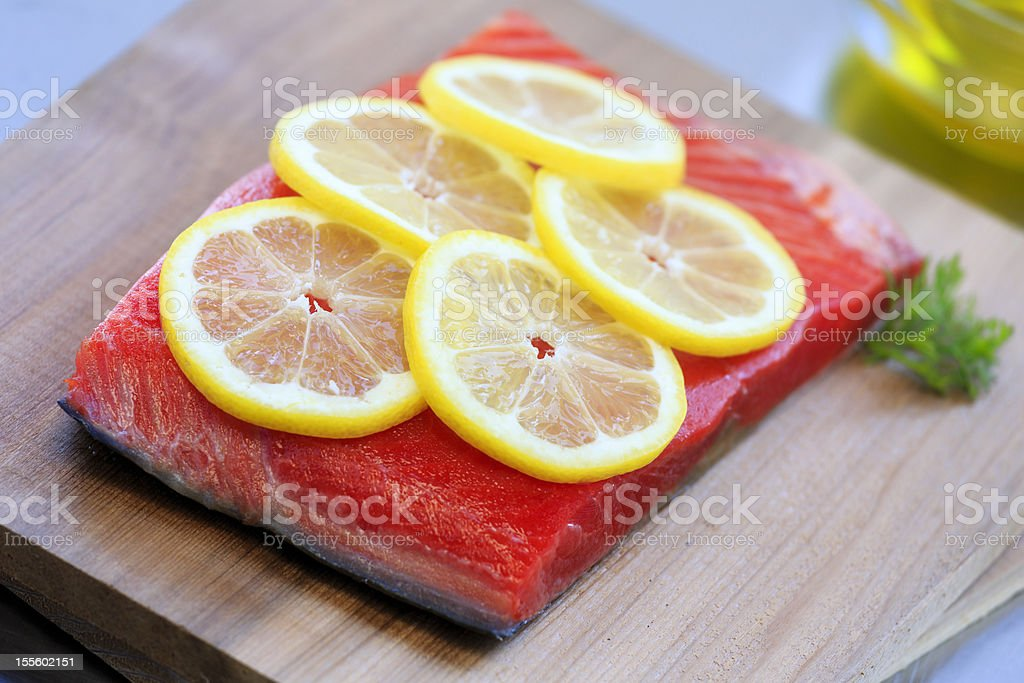 Salmon on Cedar Planks royalty-free stock photo