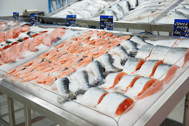Salmon on cooled market display stock photo
