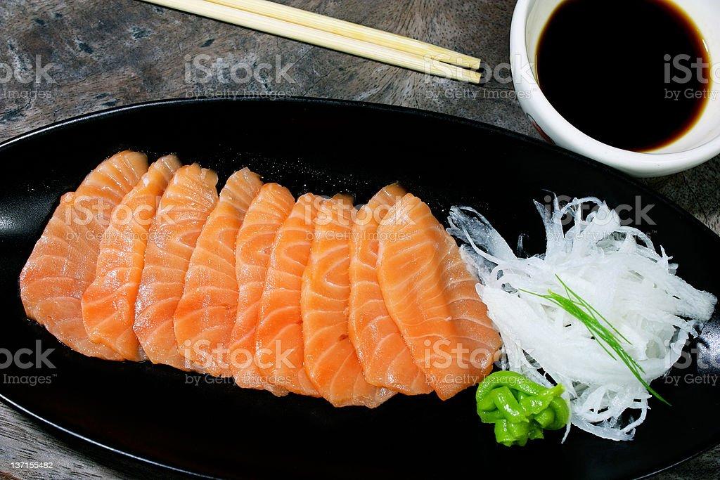 salmon on dish royalty-free stock photo
