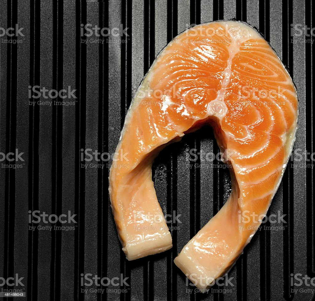 salmon on grill royalty-free stock photo