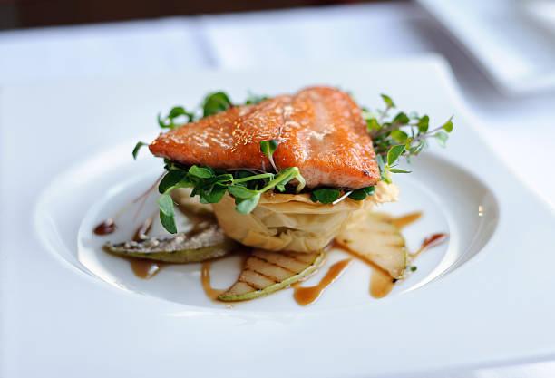 Salmon on white plate stock photo