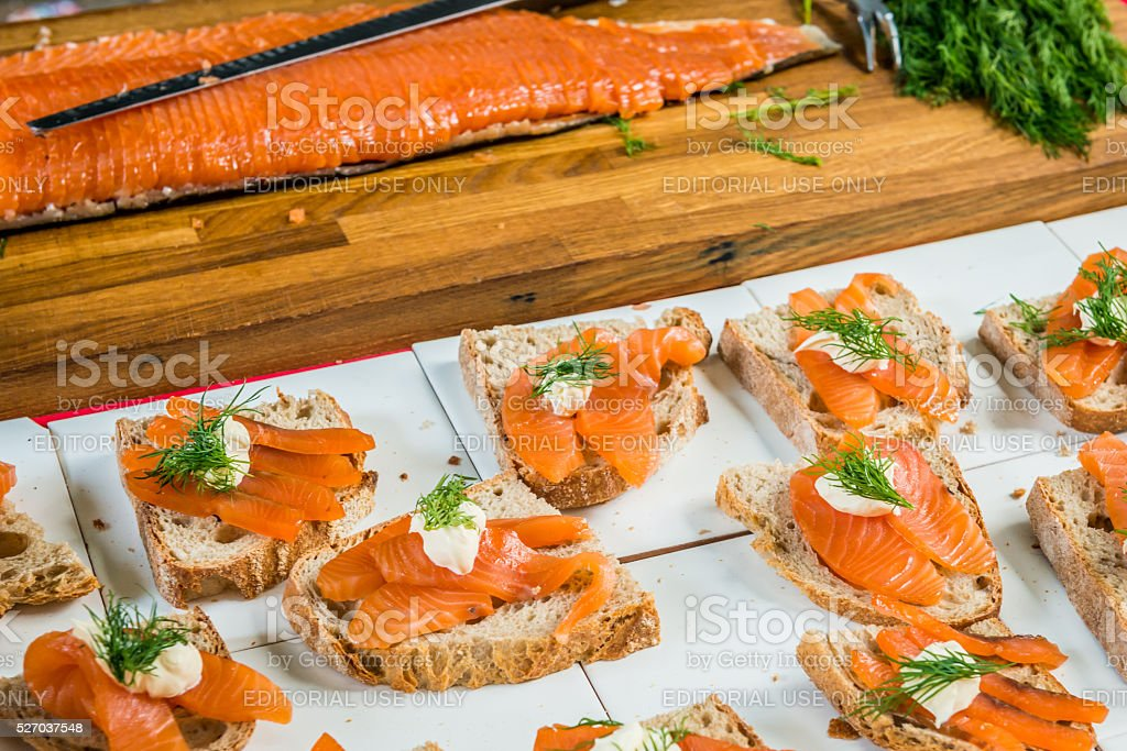 Salmon open sandwiches with dill on rye bread stock photo