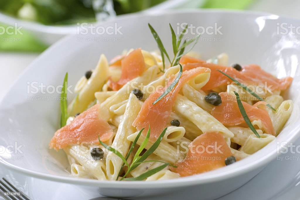 Salmon Pasta stock photo