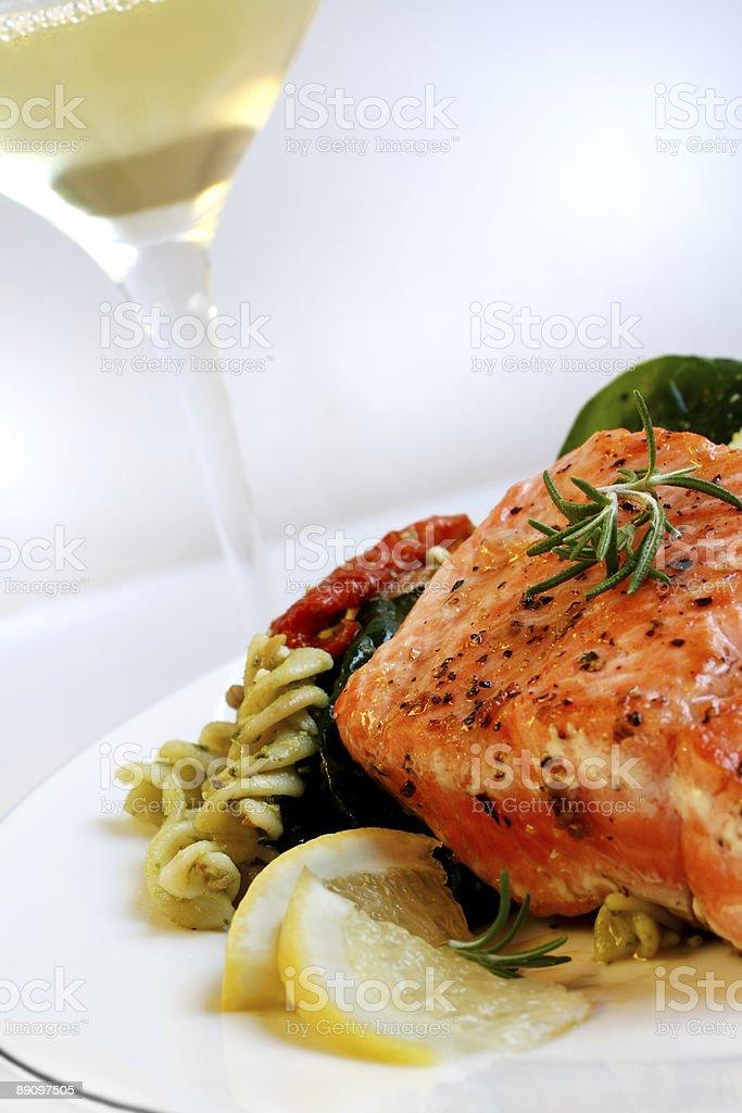 Salmon, Pasta Salad and White Wine royalty-free stock photo