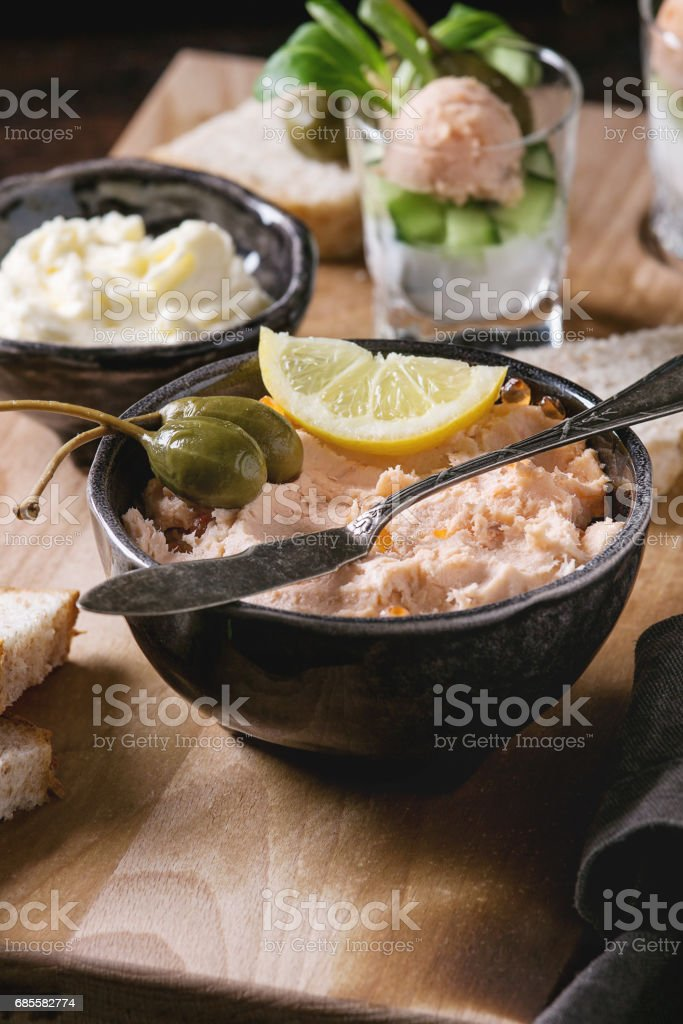 Salmon pate with red caviar 免版稅 stock photo