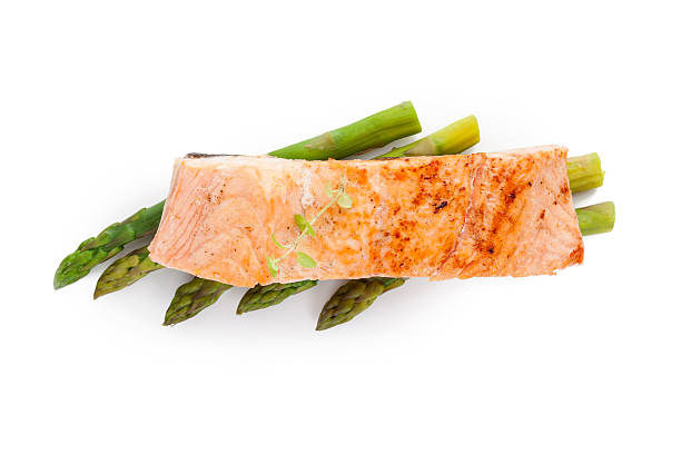 salmon piece. - salmon seafood stock photos and pictures