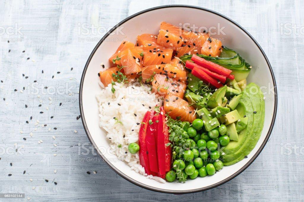 Salmon poke bowl stock photo