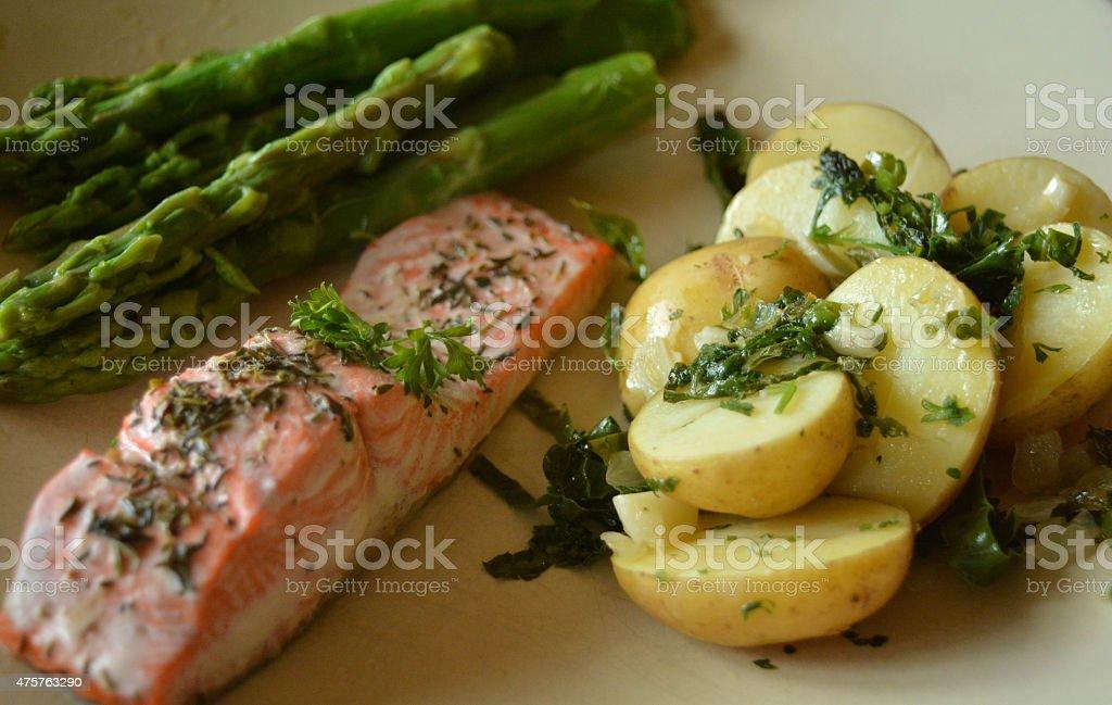 Salmon potato asparagus dinnerplate stock photo