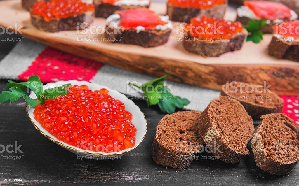 salmon red caviar stock photo