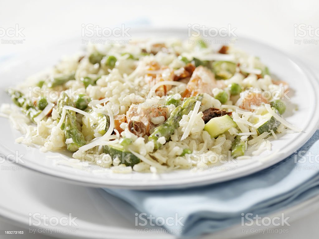 Salmon Risotto Primavera stock photo