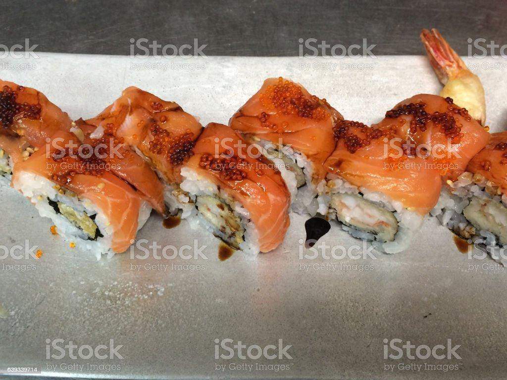 Salmon roll stock photo