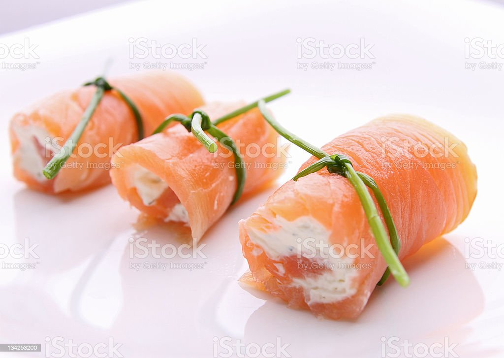 salmon roll with cheese stock photo
