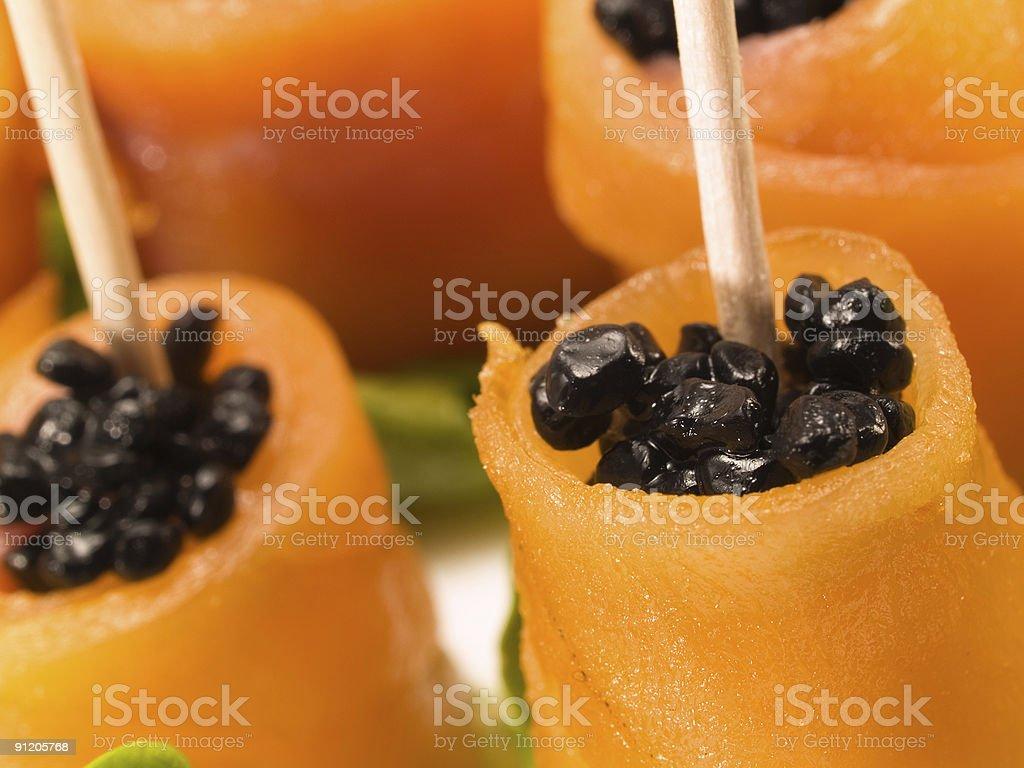 Salmon Rolls with Caviar royalty-free stock photo