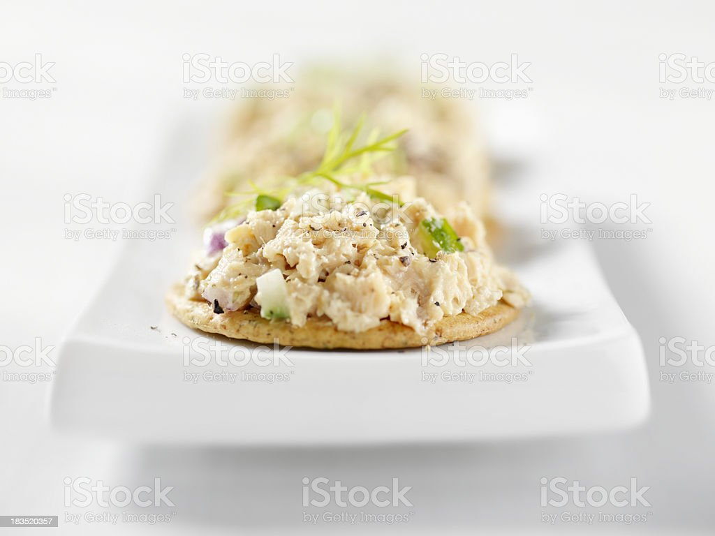 Salmon Salad Canapes stock photo