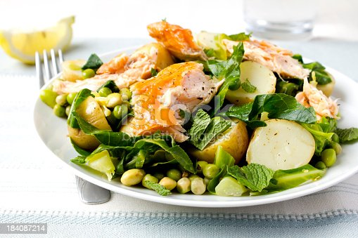 Warm salad with salmon, new potatoes, peas and mint.