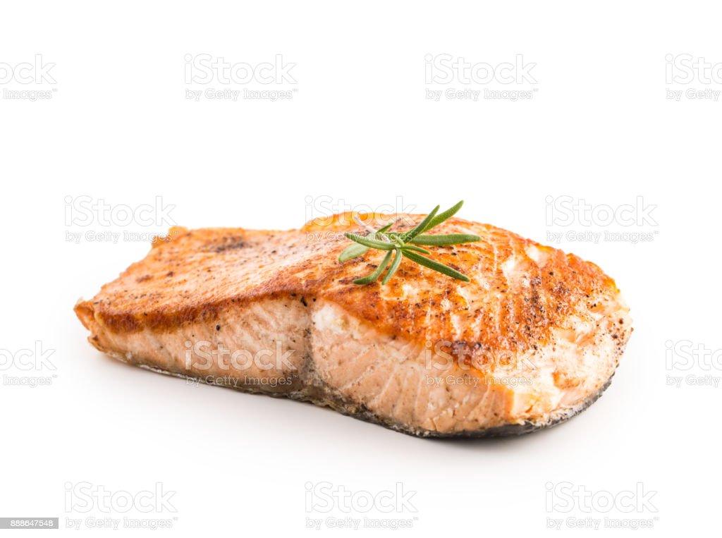 Lachs. Lachs Braten Steakisolated auf weißem Hintergrund – Foto