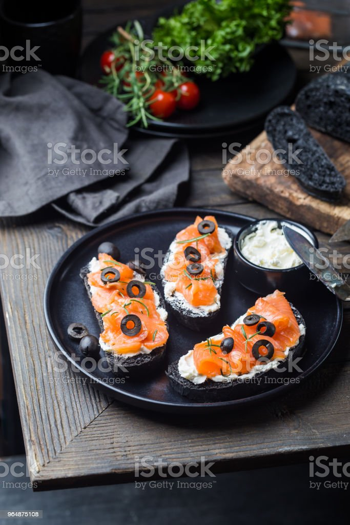 salmon sandwich with cream cheese royalty-free stock photo