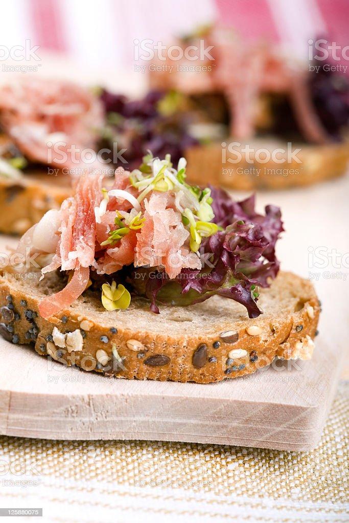 Salmon sandwiches stock photo
