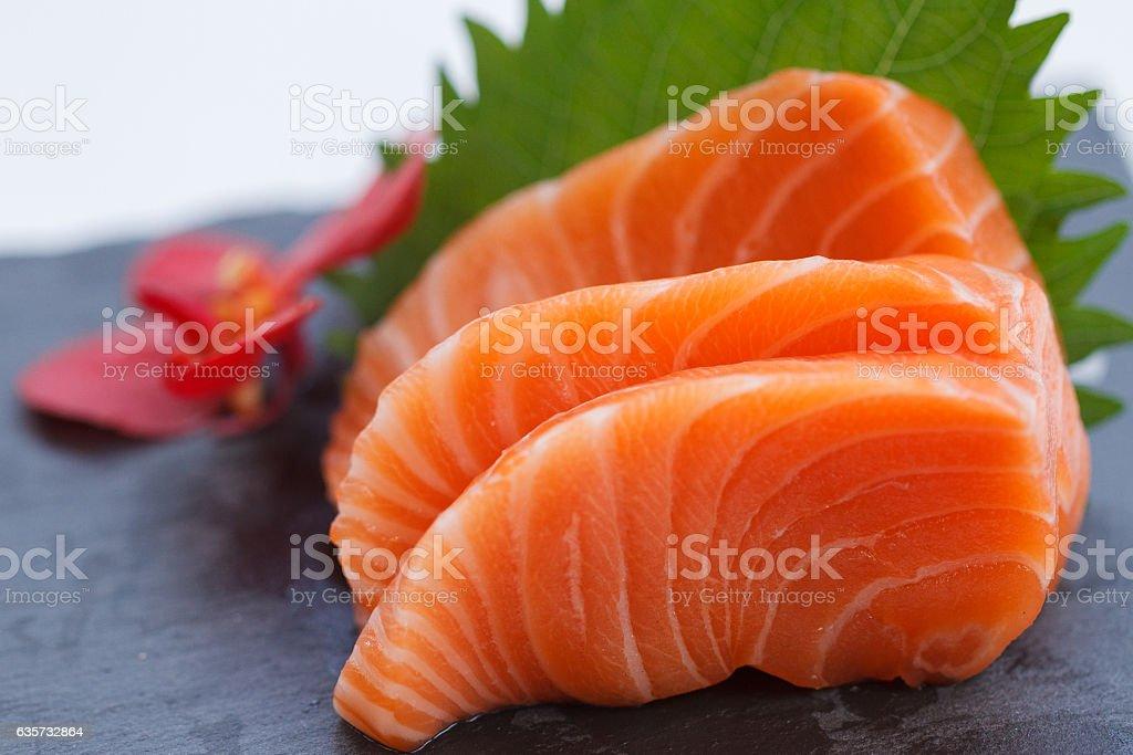 Salmon Sashimi : Sliced Raw Salmon. stock photo