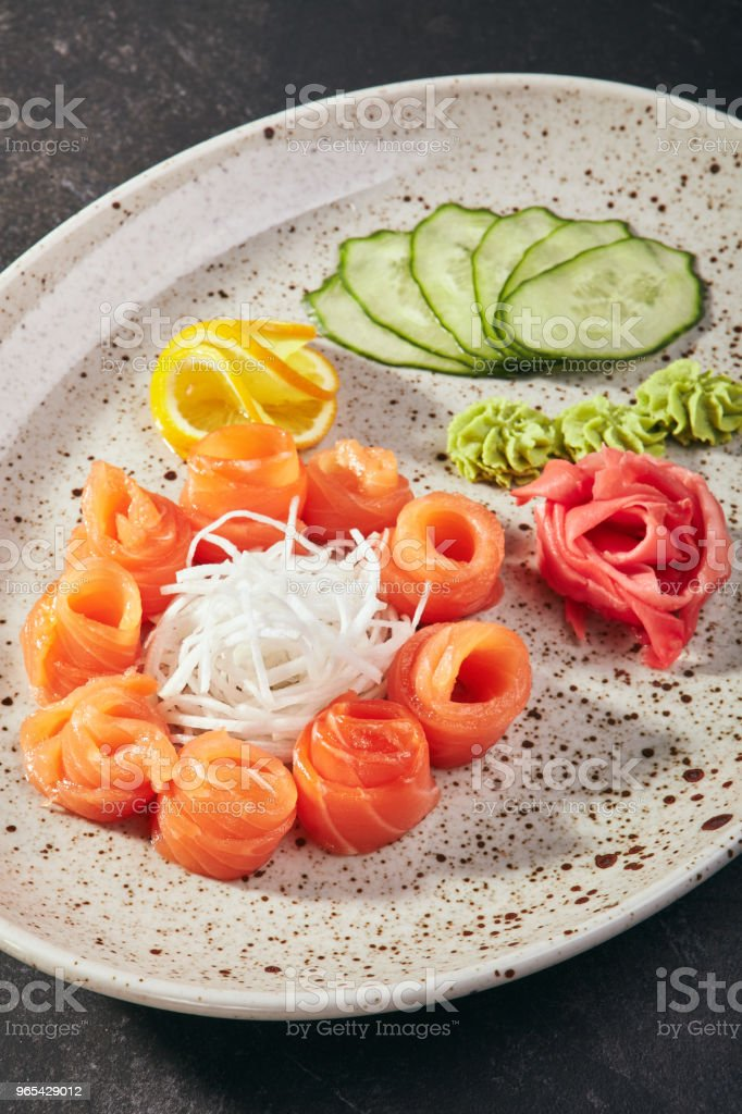 Salmon Sashimi with Daikon royalty-free stock photo