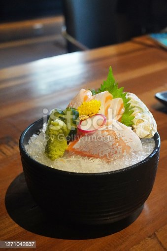 Sashimi is a Japanese delicacy consisting of fresh raw fish or meat sliced into thin pieces and often eaten with soy sauce.