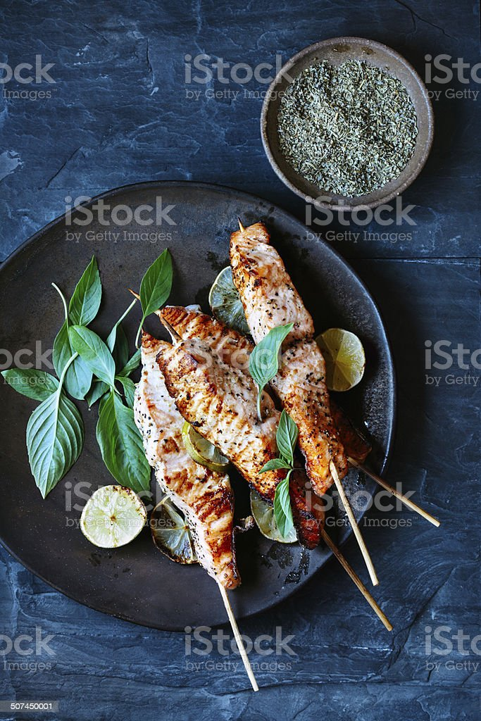 Salmon satay stock photo
