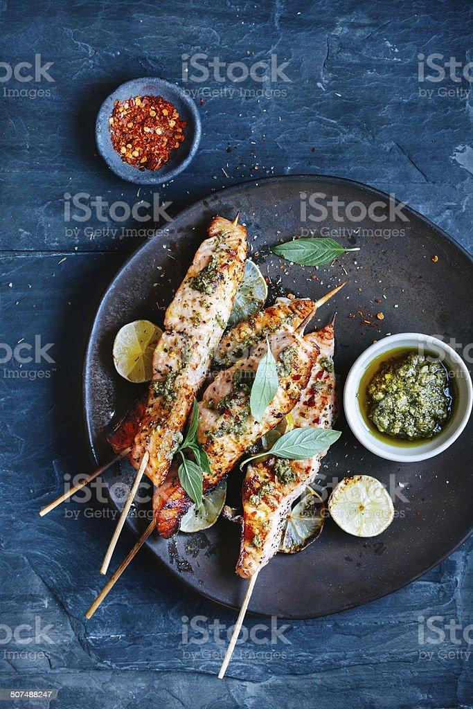 Salmon satay stock photo
