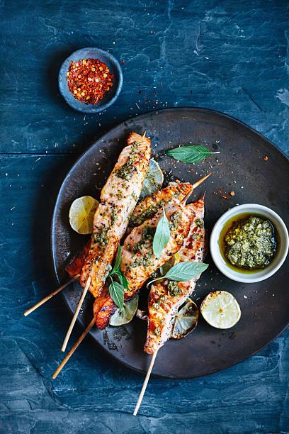 salmon satay - 泰國菜 個照片及圖片檔