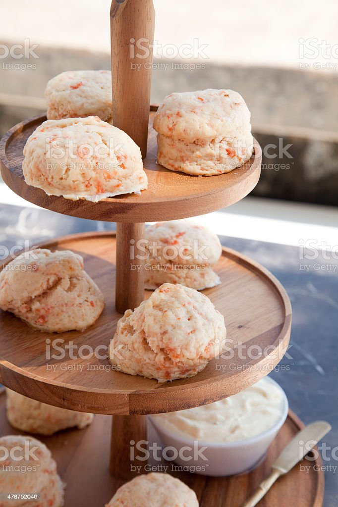 Salmon scones on the beach stock photo