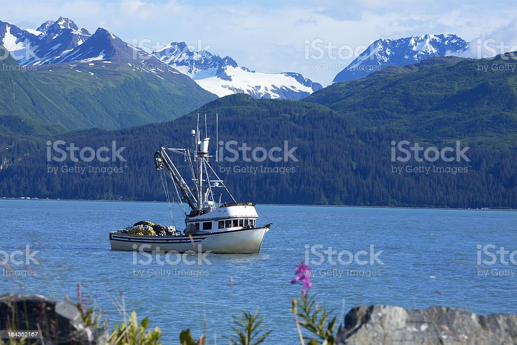 Salmon seining fishing boat anchored in Valdez, Alaska bay stock photo