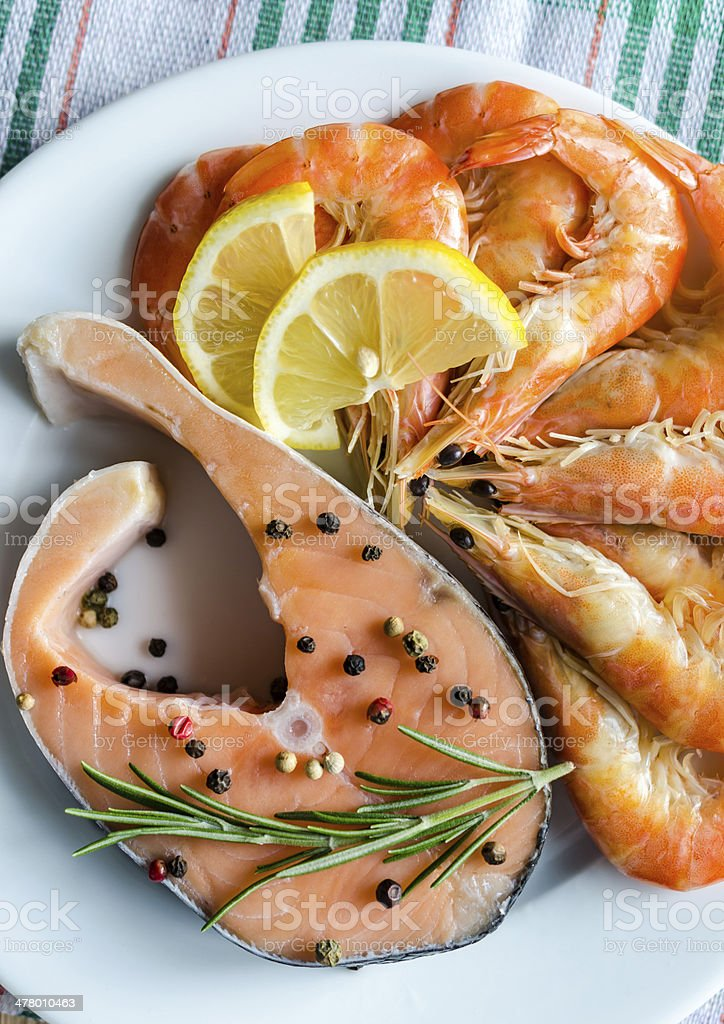 Salmon & shrimps royalty-free stock photo