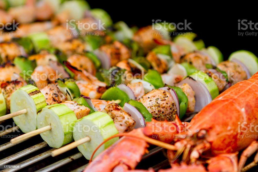 Salmon Skewers and Lobster royalty-free stock photo