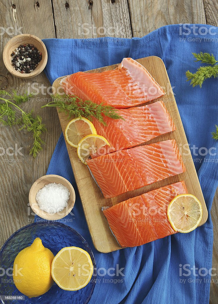 Salmon Slices with Dill and Lemon royalty-free stock photo
