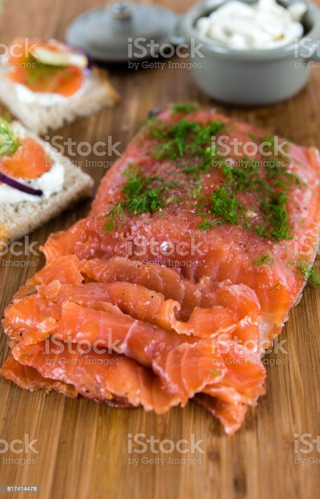 Salmon smoked gravlax plate stock photo