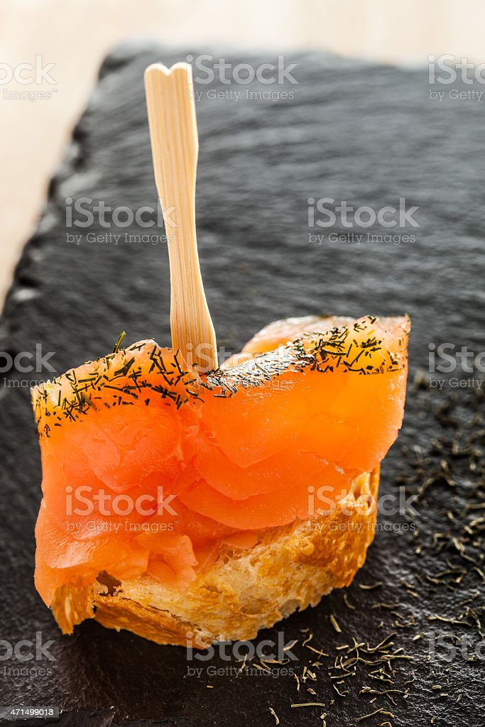Salmon snack stock photo