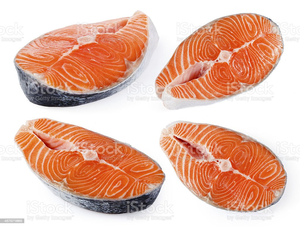 Salmon steak on a white background. Collection stock photo